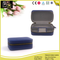 Blue Cross Grain PU leather Strip Cotton Inside Zipper Jewelry Box
