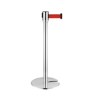 Stainless Steel Retractable Belt Crowd Control Posts & Stanchions for Library