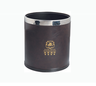 Guest Room Leather Dustbin, Hotel Supplier (KW-101A)