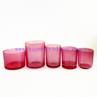 8oz 12oz 16oz Machinemade Pink Color Translucent Empty Glass Candle Jar