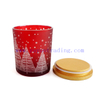 Popular Cylinder Laser Engrave Red Candle Holder 400ml With Custom Gold Wooden Lid