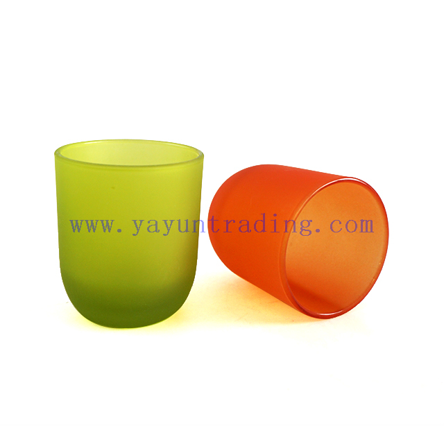 6oz 180ml Multi Color Empty Frosted Glass Candle Holders