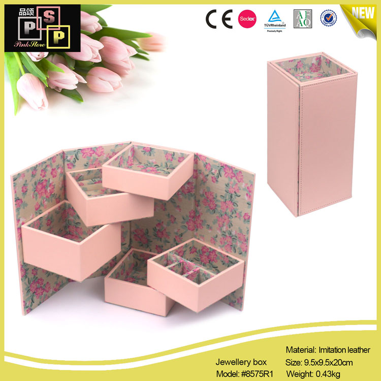 White Pink PU leather Square Rotating 5 Trays Rigid Jewelry Roll