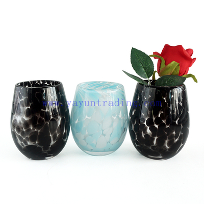 Unique Blue White Black Spots Egg Shape Design Glass Candle Jars and candle holders