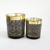 200ml 400ml Laser Engraved gold rim black Glass Candle Jars With black ceramic lids