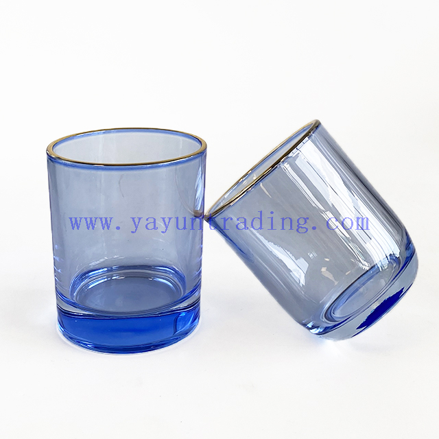 fashionable gold rim glass candle vessel for home decor