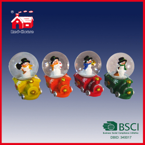 Wholesale Polyresin Snow Globe with Mini Train Base with LED Lights