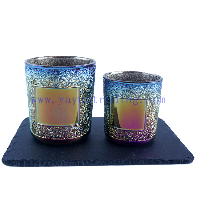 190ml 380ml Cylinder Round Electroplated Gredient Glass Candle Container