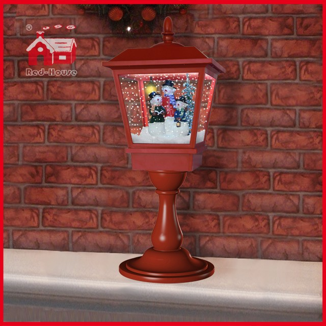 (LT27064-3S2-R) Red 65cm Christmas Light with Flying Snow and Music