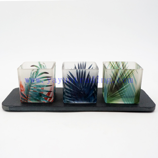 Various Pattern Translucent Square Tropical Rainforest Glass Candle Jar