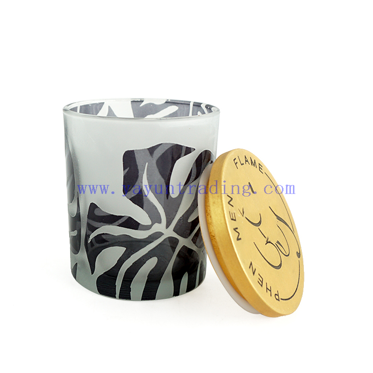 400ml empty frosted glass candle jar votive candle holders with gold printing design sealed wood lid