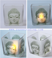 290ml Religious Belief Empty Translucent Glass Buddha Candle Holder
