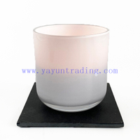 Hot Sale Round Bottom 16oz Shiny White Glass Candle Jars for Candle Making