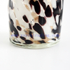 Yayun leopard Votive Candle Holder Hand Blown Art Glass in white black gold-dust spots Mix design