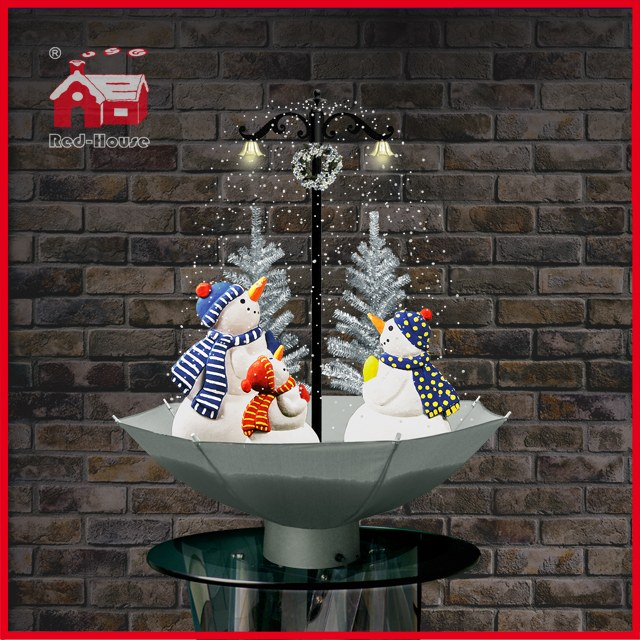 (118030U075-3S-SW) Snowing Christmas Decorations with Umbrella Base