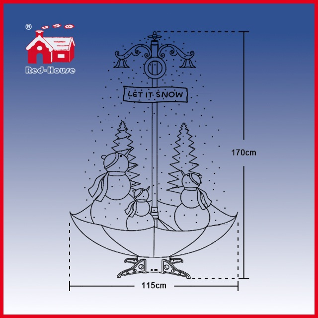 (40110U170-3S-RW) Snowing Christmas Decorations with Umbrella Base