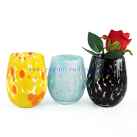 Yayun New design handmade black blue amber orange yellow leopard design candle jars 16oz egg candle container for home wedding