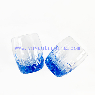 Unique Hand Made Blue And Crystal Glass Set