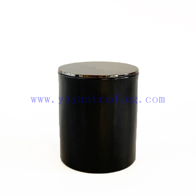 Custom Color Shiny Black Glass Candle Holder With Electroplated Black Lid