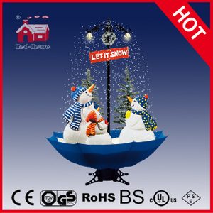 (40110U170-3S-BW) Snowing Christmas Decorations with Umbrella Base