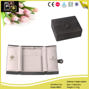 Black Cardboard Core White Velvet Inside Snap Jewelry Box