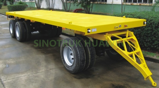 SINOTRUK High Quality 3 Axles Flatbed Full Trailer for sale