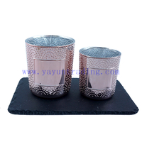 190/380ml Round Electroplated Rose Gold Shiny Glass Candle Vessel