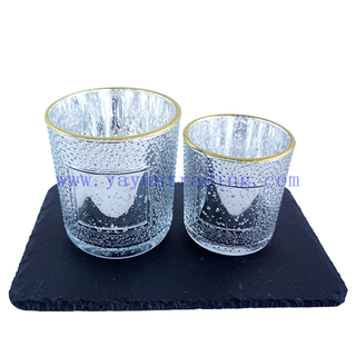 Various Volume Empty Electroplated Silver Mercury Glass Candle Cup with Gold Rim