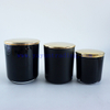 wholesale yayun best selling 8oz 12oz and 16oz black glass candle containers with gold rim and lids
