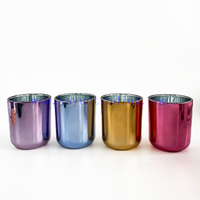16oz luxury electroplating empty glass candle jar for home decorative