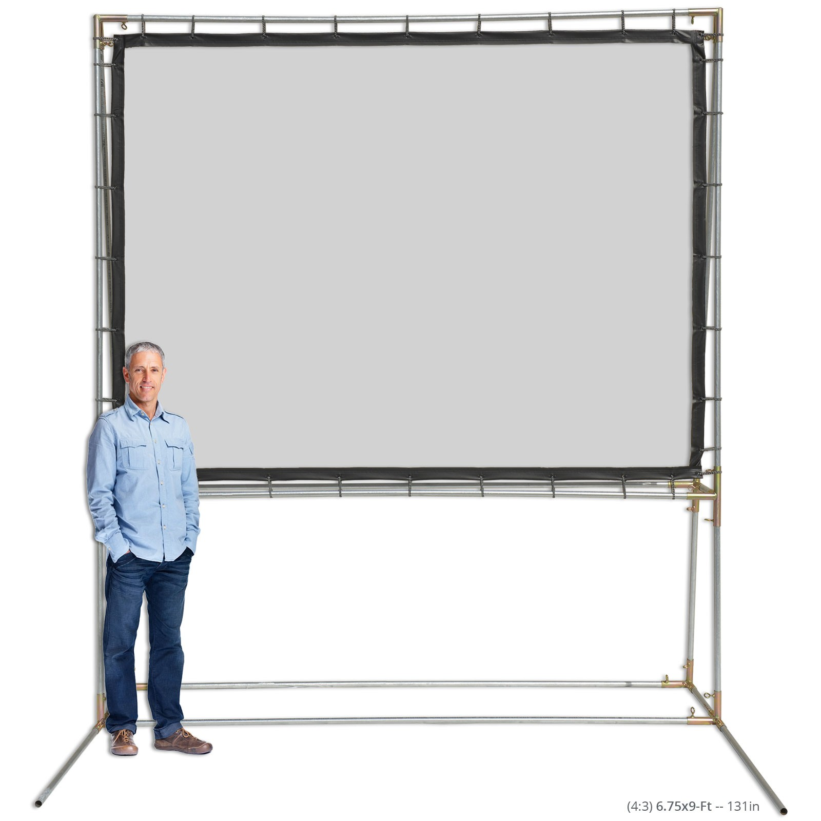 4.5x50m Eyelets Projector Screen With Black Border Front &Rear Projection