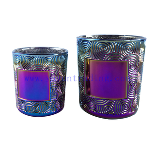 Special Design Electroplated Gredient Glass Candle Cup for Decoration