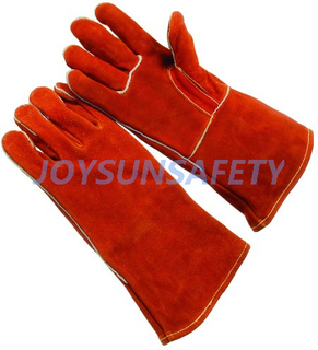 WCBR02 red welding leather gloves straight thumb