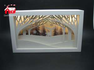 Christmas Decorative Rectangle Frame Music Box with Laser Cut Christmas Scene As Led Home Decoration From Christmas Decoration Supplies
