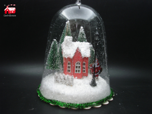 Christmas Decorative Hanging Glass Bell Cloche with Laser Cut Christmas Scene And Mini Led Street Light As Led Home Decoration From Christmas Decoration Supplies