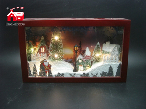 Christmas Decorative Rectangle Frame Music Box As Led Home Decoration with Atificial Snow And Mini Led Street Light Scene