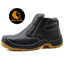 Slip Resistant Black Leather Steel Toecap No Lace Safety Shoes with Zipper