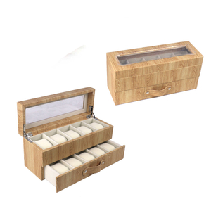 Pu leather custom 12 Slots Ebony Wooden Men's Watch Box Available in Stock