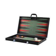 High Quality Luxury Portable Wooden Pu Leather Backgammon Case with Checkers