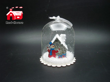 Christmas Glass Decoration in Dome Shape with Scene inside Led Power by Button Batteries-2