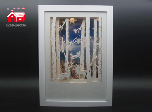 Christmas Decorative Big Rectangle Frame Music Box As Led Home Decoration with Snow Flake Moving And Laser Cut Christmas Scene From Christmas Decoration Supplies