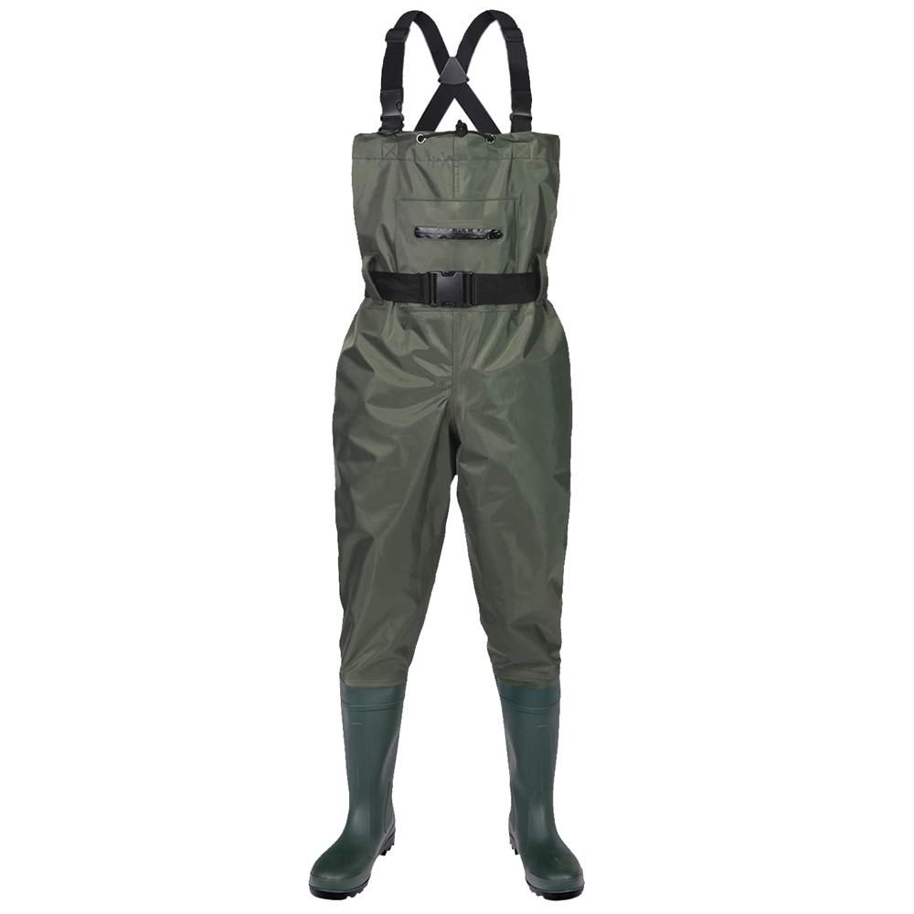 Zipper Front Pocket Water Proof Nylon PVC Men Fishing Chest Waders with PVC Boots