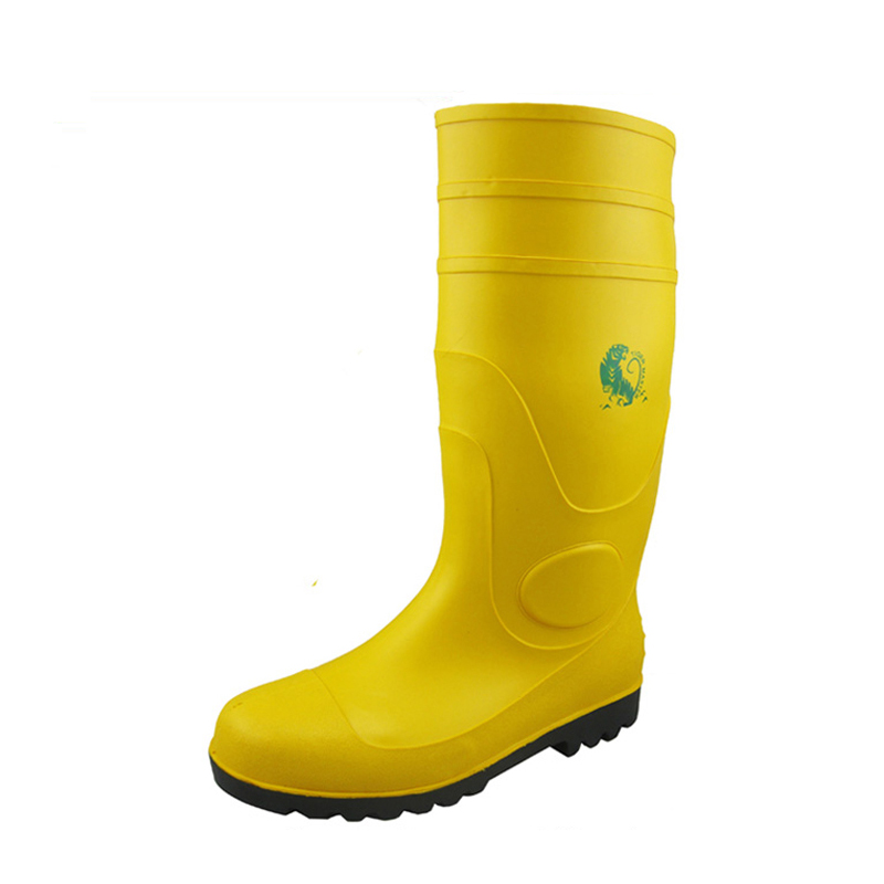 CE approved yellow steel toe cap pvc safety wellington boots