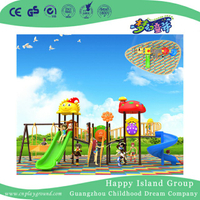 Outdoor Vivid Cartoon Plastic Slide And Swing Combination Set For Kids (BBE-B43)