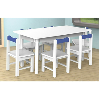 Kindergarten Indoor Children Wooden White Rectangle Table (19A2101)
