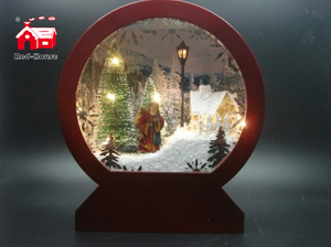 Christmas Arch Shape Glass Decoration with Lighting And Musical scene by different color