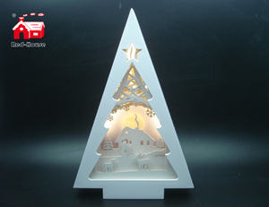 Christmas Decorative Pine Tree Frame Music Box As Led Home Decoration with Laser Cut Christmas Scene From Christmas Decoration Supplies