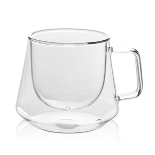 GD0503 Double Walled Glasses,Unique Octagonal 7 Ounce Insulated Glass Cup , Clear Borosilicate Coffee Mugs Tumbler for Cappuccino or Latte