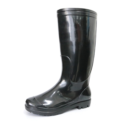 SQ-BB 2 dollar waterproof non safety cheap black shiny pvc work rain boot