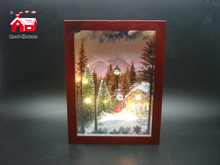 Christmas Decorative Small Rectangle Frame Music Box As Led Home Decoration with Laser Cut Christmas Scene And Mini Led Street Light From Christmas Decoration Supplies
